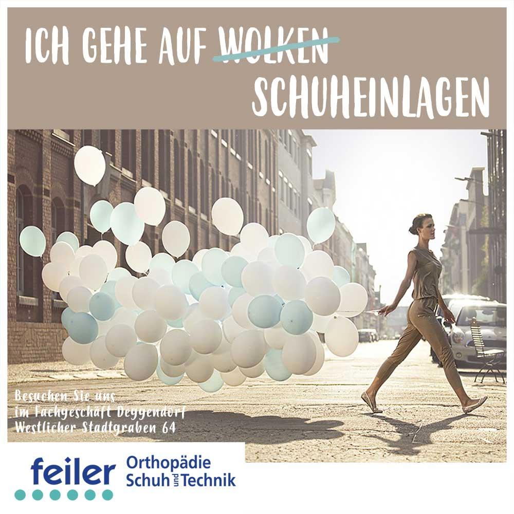 """alt """"Schuheinlagen Frau läuft mit Luftballons"""""""